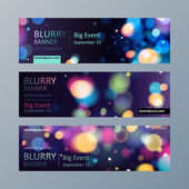 Set of blurry bokeh banners templates. — Vetor de Stock