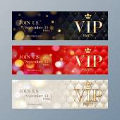 Set of VIP party banners templates. — Stock Vector