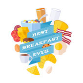 Breakfast icons with ribbon illustration. — Stok Vektör