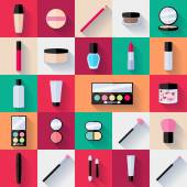 Make-up flat icons set. — Stockvektor