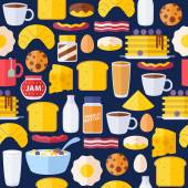 Breakfast icons seamless colorful pattern. — Stock Vector