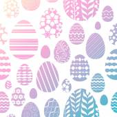Seamless easter eggs pattern - pink and green gradient color. — Stock Vector