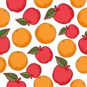Orangen und Äpfel nahtlose Muster. — Stockvektor