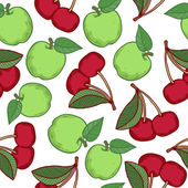 Apples and cherries seamless pattern. — Stock Vector