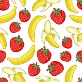 Strawberries and bananas seamless pattern. — Stock Vector
