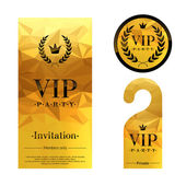 VIP party invitation card, warning hanger and badge. — Stock Vector
