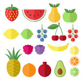 Set of fruits and berries flat icons. — Stock Vector
