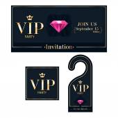 VIP invitation card, warning hanger and badge. — Stock Vector