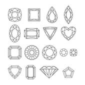 Set of simple style outline jewels. — Stock Vector