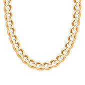 Chunky chain golden metallic necklace or bracelet. — Vettoriale Stock