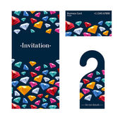 Invitation card, warning hanger and business card. — Stock Vector
