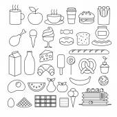 Sada různých potravin osnovy ikon. — Stock vektor
