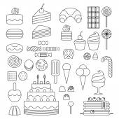 Set of sweet food outline icons. — Stock Vector