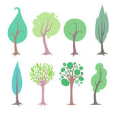 Set of simple flat style trees. — Stock Vector