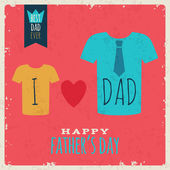 Happy Fathes Day vintage retro card with t-shirts. — Stock Vector