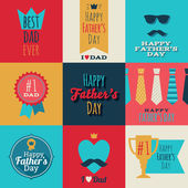 Happy fathers day vintage retro badges set. — Stok Vektör