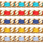 Golden chains set with colorful fabric ribbon vector brush. — Stock Vector