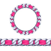 Silver chain with pink fabric ribbon vector brush. — Stock Vector
