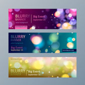 Set of blurry bokeh banners templates. — Stock Vector