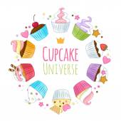 Sweet cupcakes background. Colorful illustration. — Stock Vector