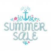 Summer sale offer with ahchor,roses and leaves. — Stock Vector