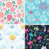 Seamless summer floral and holidays patterns set. — Stock Vector