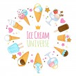 Colorful sweet ice cream icons background. — Stock Vector #74855555