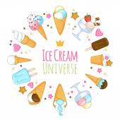 Colorful sweet ice cream icons background. — Stock Vector