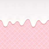 Pink wafer and flowing cream - vector background. — Stock Vector