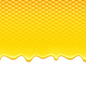 Yellow pattern with honeycomb and honey drips. — Stock Vector