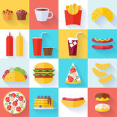 Fast food icons set - flat style. — Stock Vector