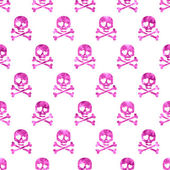 Pink glitter skulls in love seamless pattern. — Stock Vector
