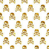 Golden glitter skulls in love seamless pattern. — Stock Vector
