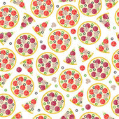 Seamless whole pizza and pieces pattern. — Stock Vector