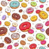 Colorful donuts seamless pattern. Doodle sketch style. — Stock Vector