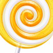 Yellow and white big lollipop spiral candy background. — Stock Vector