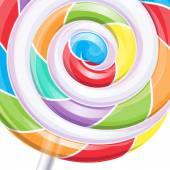 Colorful big lollipop spiral candy background. — Stock Vector