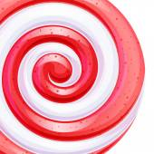 Red and white big lollipop spiral candy background. — Stock Vector