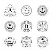 Lüks logo şablonu süs etiketleri ayarlama. — Stok Vektör