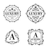 Luxury logo template ornament labels set. — Stock Vector