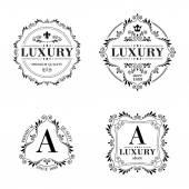 Sada luxusní loga šablona ornament popisky. — Stock vektor