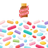 Colorful pills and bottle vector background. — Stock Vector