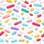 Colorful pills seamless pattern. Vector background. — Stock Vector