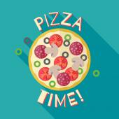 Pizza time banner poster template illustration. — Stock Vector