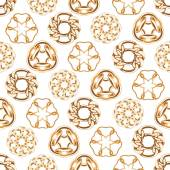 Abstract golden chains circles seamless background. — Stock Vector