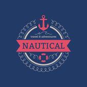 Sailing sea navy nautical symbol stamp. — Stock Vector