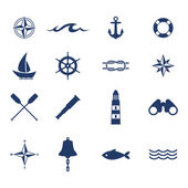 Set of nautical sea ocean sailing icons. — Stock Vector