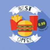 Fast food poster vector illustration - burger, cola, fries. — Stock Vector