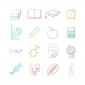 School education colorful icon set. — Stock Vector