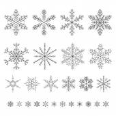 Set of outline snowflakes vector illustration. — Stock Vector